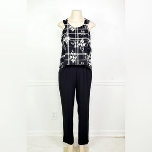 Cynthia Rowley Black and White Popover Jumpsuit